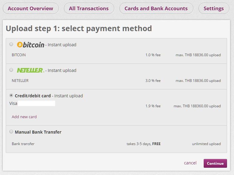 Upload money to Skrill