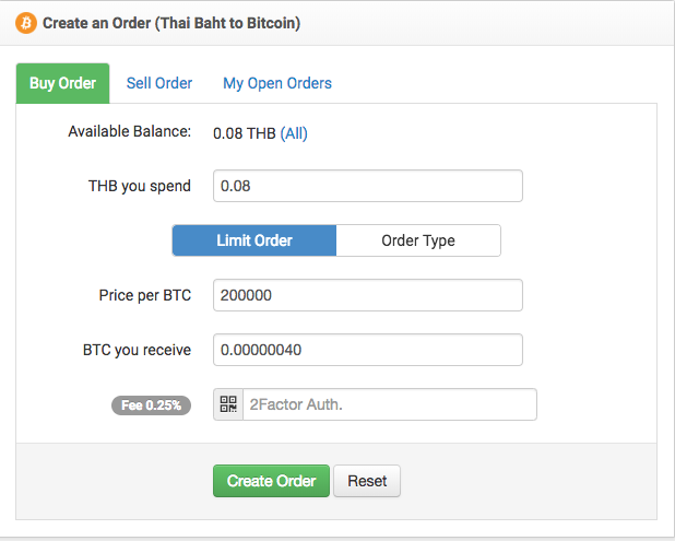 Create an Order (Thai Baht to Bitcoin)